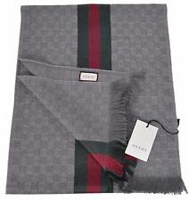 NEW Gucci Men's 147351 Grey GG Guccissima Red Green Stripe Wool Scarf Muffler