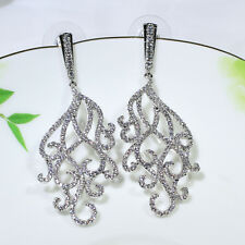 18K White Gold Filled CZ Fashion Jewelry Luxury Women Dangle Earrings E4856A