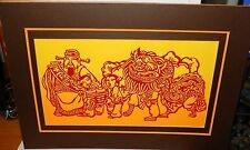 VINTAGE JAPANESE STENCIL PAPER CUT MAN AND DRAGON PRINT SIGNED BY THE ARTIST