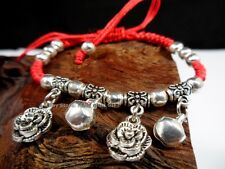 Silver Rose Bead Feng Shui Jewelry Good Luck Flower Charm Red String Bracelet