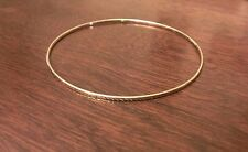 "14K YELLOW GOLD 8"" HOLLOW DIAMOND CUT 1.5MM SLIP-ON BANGLE BRACELET"