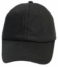 Solid Plain Washed Black Dad Hat Cotton Polo Style Baseball Cap Adj Strapback
