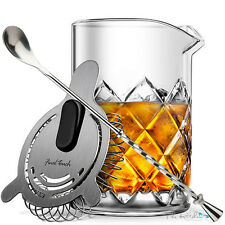 Yarai Cocktail Glass Mixing Pitcher, Cocktail Spoon, Shaker, Hawthorne Strainer
