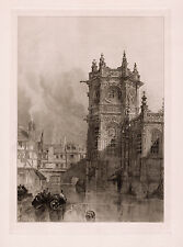 """David ROBERTS 1800s Etching """"Old Église Saint-Pierre on the Canal"""" Framed COA"""