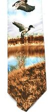 Duck Mallard Pond Silk Neck Tie Shooting Scene Game Shooter Gift