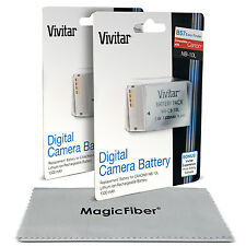 2 x Vivitar NB-10L Battery for Canon Powershot SX40 SX50 SX60 HS G1 G3 X G15 G16