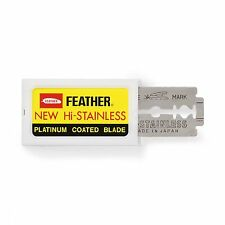10 Japanese Feather Hi-Stainless Double Edge Platinum Coated Razor Blades