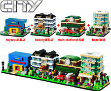 City Series Mini Street hotel train station bakery   Toy shop fit lego in bags