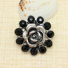 NEW Beauty Rhinestone Black Charm Chunk Snap Button fit for Noosa Bracelet BUA25