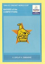 CRICKET  -  POSTCARD  -  1999  ICC  CRICKET  WORLD  CUP  BADGES  -  ZIMBABWE
