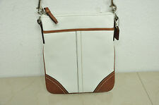 Coach Swingback Sling Crossbody Shoulder Bag Purse BROWN AND WHITE LEATHER