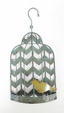 Blue Distressed Chevron Bird Cage Wall Decor