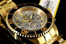 Invicta 47mm GRAND DIVER Chronograph 18k Yellow Gold Tone Platinum MOP Dial Watc