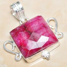 "Handmade Cherry Ruby Natural Gemstone 925 Sterling Silver Pendant 1.75"" #P04062"