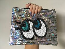 Big Eyes Hologram Silver Mirror Sequin Soft Clutch Handbag Purse