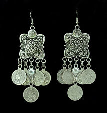 Silver Turkish carving Coin Floral Boho Gypsy Beachy Ethnic Tribal Drop Earrings