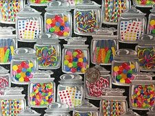 Old Fashioned Candy Jars Junk Food Sweet Novelty Quilt Fabric Fat Quarter FQ FQs