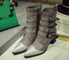 Ladies Womens Punk Buckle Ankle Boots Pointed Toe Casual Riding Chunky Shoes SZ