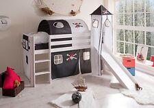 Lit mezzanine avec toboggan et tour KASPER pin teinté blanc tissus Pirate Noir-B