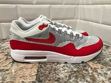Nike Air Max 1 One Ultra Flyknit University Red Grey White SZ 9.5 843384-101
