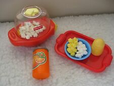 FISHER PRICE FUN FOOD TIKES ● POPPITY POP POPCORN BUTTER BOWL TRAY SALT ~ RARE!