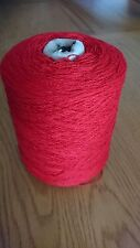 100% Lambs Wool Yarn In Pilar Box Red 500g Cone .2ply machine Knit.Uk Spun.