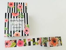 HAPPY PLANNER WASHI TAPE: BEAUTIFUL EPHEMERAL FLORAL STRIPED WASHI TAPE- NEW