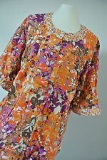 Ulla Popken * blumige Bluse * Orange Braun Lila * Double Stoff Mix * Gr 42/44
