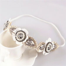 Women Vintage Fabric Flower Elastic Headband Rhinestone Beads Handmade Hair Band