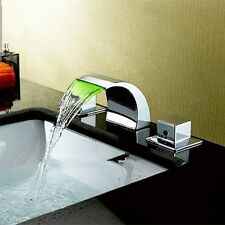 Color Changing LED Waterfall Widespread Bathroom Sink Faucet RGB Basin Mixer TAP