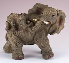 Elephant Family Mother With Baby On Back Figurine Resin 5.5 Inch Long New In Box