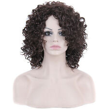 Fashion Wig Women Medium Dark Brown Afro Curly Hair Cosplay Party Sexy Full Wigs