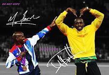 MO FARAH & USAIN BOLT SIGNED A4 GLOSSY PHOTO POSTER REPRINT 2012 LONDON OLYMPICS
