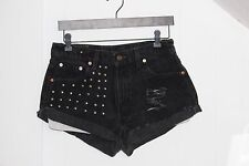 "Levi's High Waisted Women's Black Studded Distressed Denim Jean Shorts 30""W"