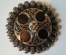 "NEW 3 1/2"" SKULL HEAD And CELTIC CROSS BELT BUCKLE - POLISHED METAL"
