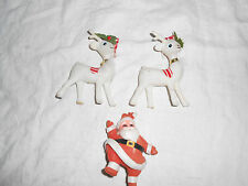 Vintage felt covered plastic Santa & reindeer figures