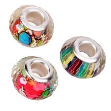 100pcs Colorful Patterns Faceted Resin Charms Beads Fit European Bracelets LC
