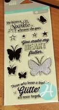 CLEAR ACRYLIC HAMPTON ART STAMPS BUTTERFLY~ She leaves a Sparkle... wksCTMH blk