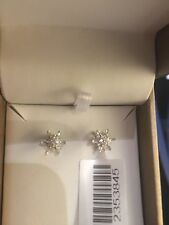 Genuine Snowflake Cut Baguette And Round Cut Diamond Studs 0.25 Ct 9 Ct W/Gold