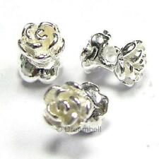 4x Sterling Silver Rose Flower Spacer Beads 5mm x4.2mm