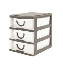 3 Drawer Unit Small Tower Home Office Organiser Shelving Storage Solution Grey