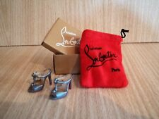 Barbie size Christian Louboutin Silver Sandals with Shoe Box and Red Dust Bag