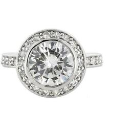 6 TCW Round Halo Bezel Set CZ Bridal Engagement Wedding Cocktail Ring Size 6