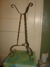 """Vtg Rustic Heavy Wrought Iron Plant Stand Urn Holder Primitive Garden 27""""Tall"""