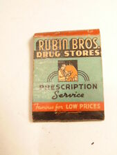 Vintage advertising match book cover: Robin Bros. Drug Stores (New Jersey)