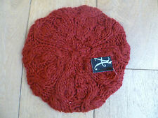 MONSOON ACCESSORIZE DEEP RED CABLE KNITTED BERET HAT ONE SIZE 57CM UNWORN NEW