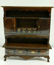 Vintage NEW Wood Dollhouse Furniture - BROWN CHINA HUTCH CABINET BRASS HARDWARE