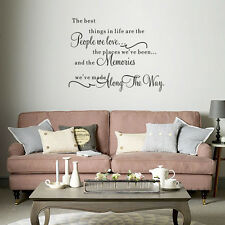 """"""" The Best Things"""" Mural Quote Wall Sticker Art Decals Home Decor Removable New"""