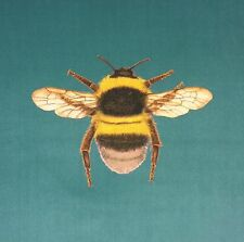TEX EX ORIGINAL FLORA & FAUNA BUMBLEBEE BEE CUSHION PANEL TURQUOISE VELVET
