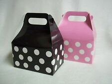 12 Lot Black & Pink Mickey Minnie Mouse Polka Dots Treat goody Box Party baby